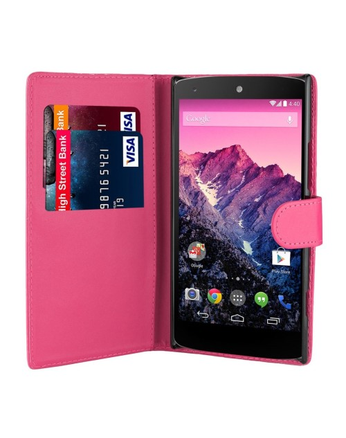 Nexus 6 Pu Leather Book Style Wallet Case with Mini Stylus Stylus-Pink