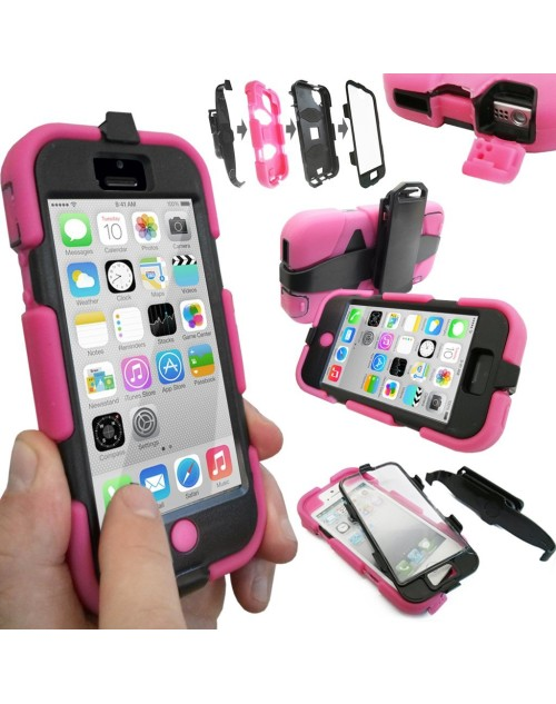 iPhone 6 Plus/6S Plus Heavy Duty Shockproof Miltary Silicon Case Cover with Built in Screen Protector Adjustable Positioning Stand-Pink