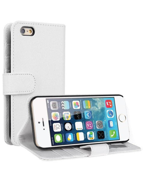 Apple iPhone 6S 6 Pu Leather Book Style Wallet Case with free  Stylus-White