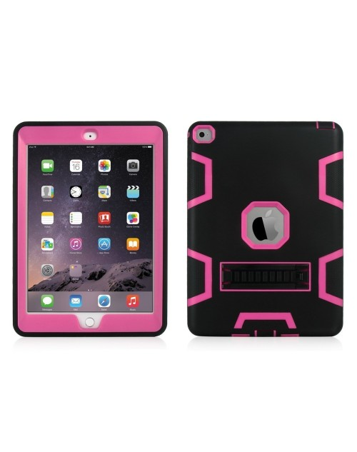 iPad Mini 1,2,3 Heavy Duty Shockproof Miltary Silicon Case Cover with Adjustable Positioning Stand-Pink
