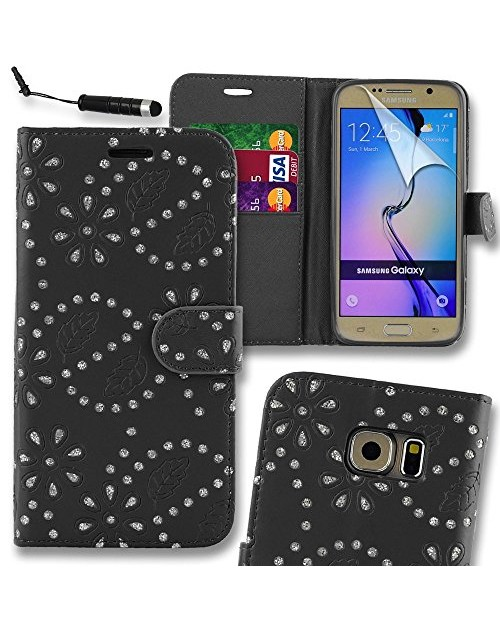 Samsung Galaxy S7 Glitter  Pu Leather Book Style Wallet Case with free  Stylus-Black