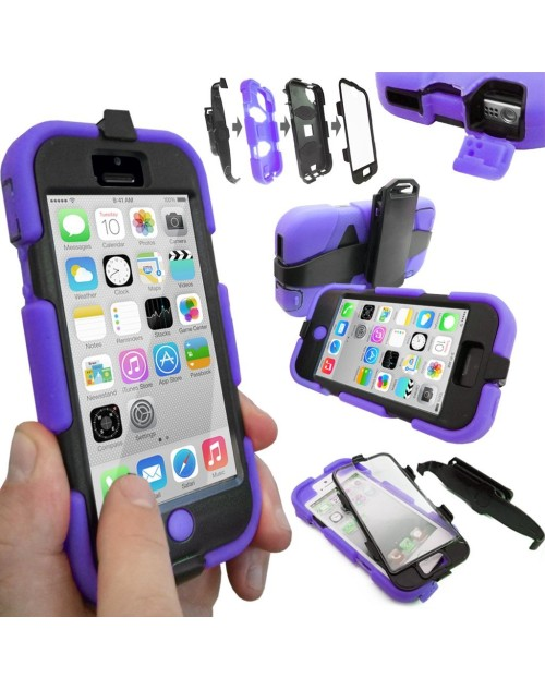 Samsung Galaxy S4  i9500 Heavy Duty Shockproof Miltary Silicon Case Cover with Built in Screen Protector Adjustable Positioning Stand-Purple