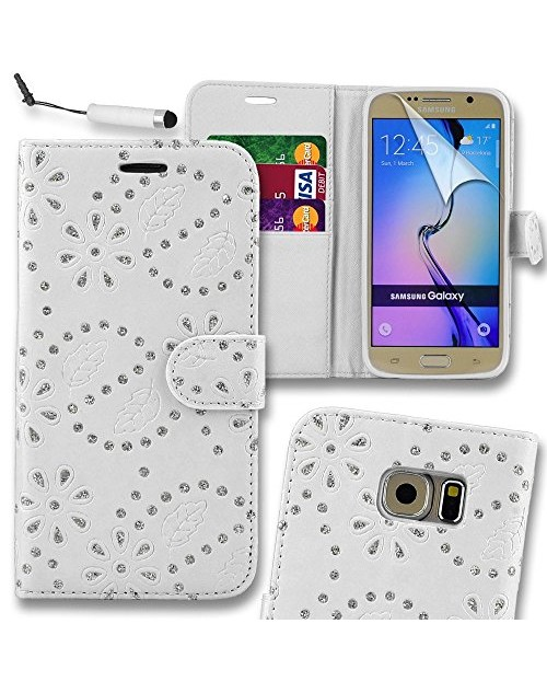 Samsung Galaxy S6 Glitter  Pu Leather Book Style Wallet Case with free  Stylus-White
