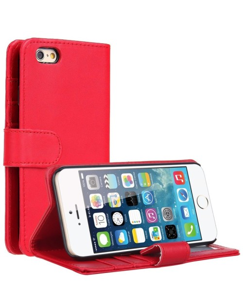 Apple iPhone 6S 6 Pu Leather Book Style Wallet Case with free  Stylus-Red