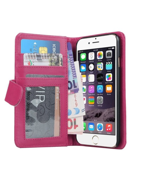 Apple iPod Touch 6 Pu Leather Book Style Wallet Case with free  Stylus-Pink