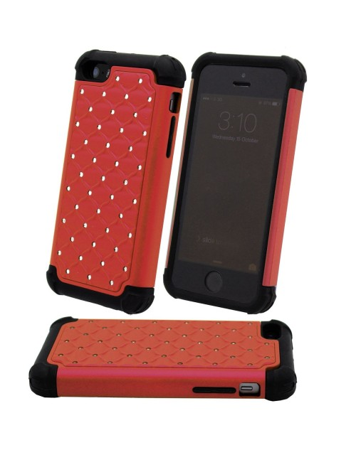 iPhone 6 Plus/6S Plus Glitter Heavy Duty Shockproof Miltary Silicon Case Cover with Built in Screen Protector Adjustable Positioning Stand-Red