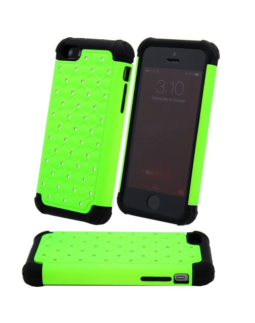 iPhone 6 Plus/6S Plus Glitter Heavy Duty Shockproof Miltary Silicon Case Cover with Built in Screen Protector Adjustable Positioning Stand-Green