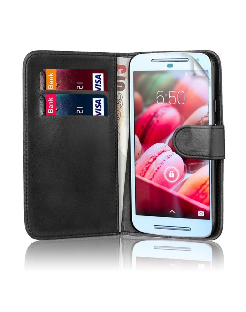 LG L20 Pu Leather Book Style Wallet Case with Mini Stylus Stylus-Black