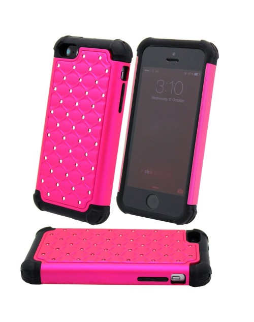 iPhone 6 Plus/6S Plus Glitter Heavy Duty Shockproof Miltary Silicon Case Cover with Built in Screen Protector Adjustable Positioning Stand-Hot Pink