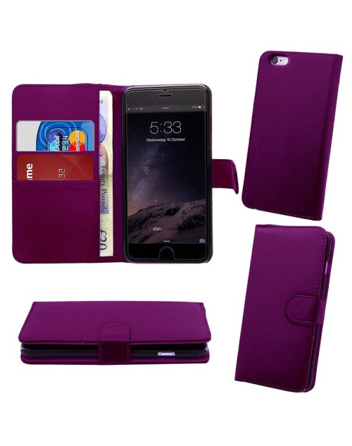 Apple iPhone 6S 6 Pu Leather Book Style Wallet Case with free  Stylus-Purple