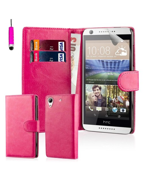 HTC Desire M10 Pu Leather Book Style Wallet Case with free  Stylus-Pink