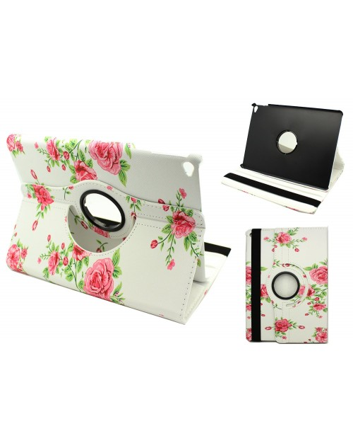 Apple iPad Air 2 Printed 360 Rotaing Pu Leather with Viewing Stand Plus Free Stylus Case Cover for Apple iPad Air 2-Pink Large Roses