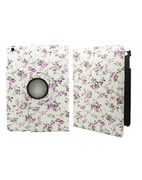 Apple iPad Air 2 Printed 360 Rotaing Pu Leather with Viewing Stand Plus Free Stylus Case Cover for Apple iPad Air 2-Small Purple Flowers
