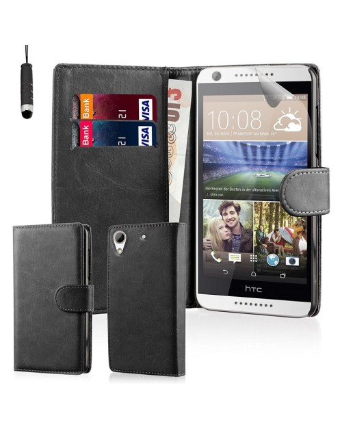 HTC Desire 510 Pu Leather Book Style Wallet Case with free  Stylus-Black