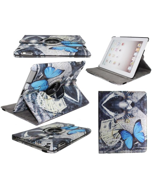 Apple iPad 2 Printed 360 Rotaing Pu Leather with Viewing Stand Plus Free Stylus Case Cover for Apple iPad 2-Blue Butterflies