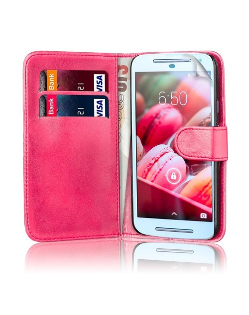 LG L20 Pu Leather Book Style Wallet Case with Mini Stylus Stylus-Pink