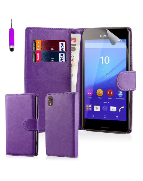 Sony Xperia Z5 Glitter  Pu Leather Book Style Wallet Case with free  Stylus-Purple