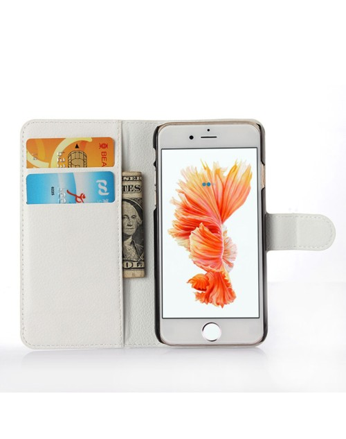 Apple iPhone 6S 6 Pu Leather Book Style Wallet Case with Mini Stylus Stylus-White