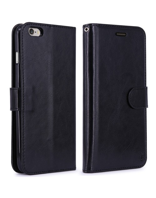 Apple iPhone 6S 6 Pu Leather Book Style Wallet Case with Mini Stylus Stylus-Black