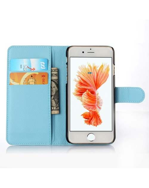 Apple iPhone 6S Plus 6 Plus Pu Leather Book Style Wallet Case with Mini Stylus Stylus-Blue