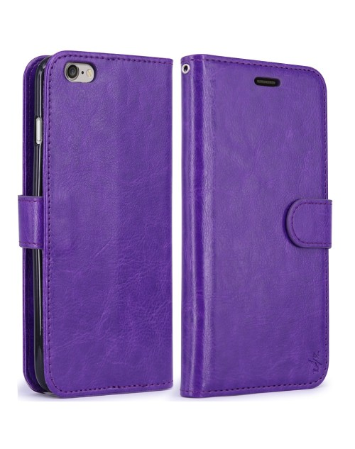 Apple iPhone 6S 6 Pu Leather Book Style Wallet Case with Mini Stylus Stylus-Purple
