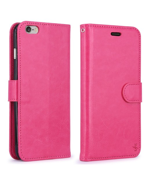 Apple iPod Touch 6 Pu Leather Book Style Wallet Case with Mini Stylus Stylus-Pink