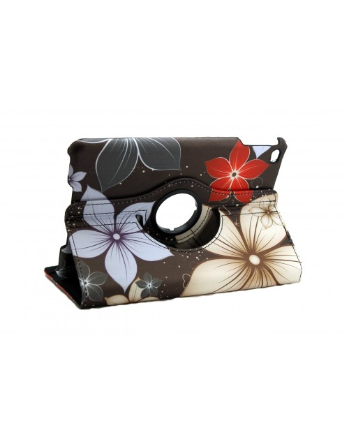 Apple iPad 4 Mini Printed 360 Rotaing Pu Leather with Viewing Stand Plus Free Stylus Case Cover for Apple iPad 4-Large Flowers
