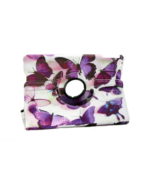Apple iPad Mini 4 Printed 360 Rotaing Pu Leather with Viewing Stand Plus Free Stylus Case Cover for Apple iPad 4-Purple Butterflies