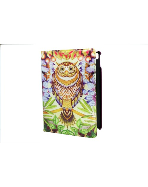 Apple iPad Air Pros 9.7 Printed 360 Rotaing Pu Leather with Viewing Stand Plus Free Stylus Case Cover for Apple iPad Air 3-Owl & Bushes