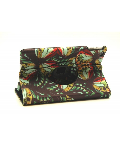 Apple iPad Air 2 Printed 360 Rotaing Pu Leather with Viewing Stand Plus Free Stylus Case Cover for Apple iPad Air 2-Dark Butterflies