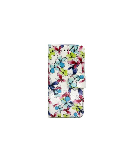 iPhone 5C Pu Leather Book Style Wallet Case with free  Stylus-Mix Flowers