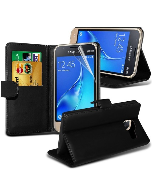 Samsung Galaxy J1 Pu Leather Book Style Wallet Case with free  Stylus-Black
