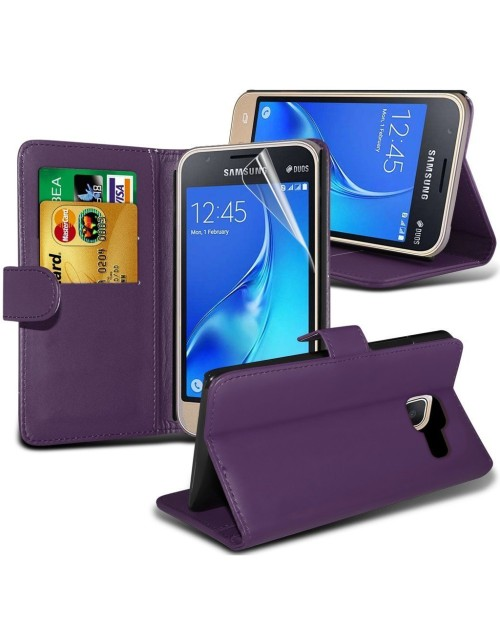Samsung Galaxy J1 Pu Leather Book Style Wallet Case with free  Stylus-Purple