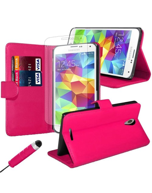 Samsung Galaxy J1 Pu Leather Book Style Wallet Case with free  Stylus-Pink