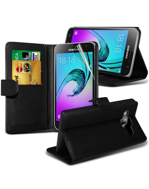 Samsung Galaxy A7 Pu Leather Book Style Wallet Case with free  Stylus-Black