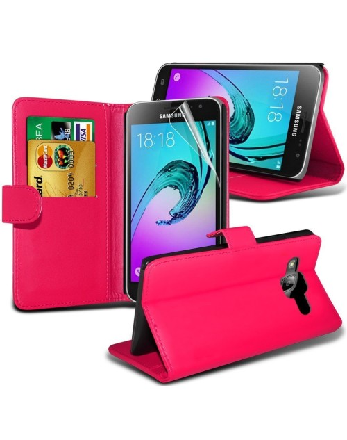 Samsung Galaxy A7 Pu Leather Book Style Wallet Case with free  Stylus-Pink