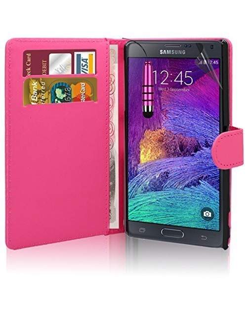 Samsung Galaxy Note 2 Pu Leather Book Style Wallet Case with free  Stylus-Pink