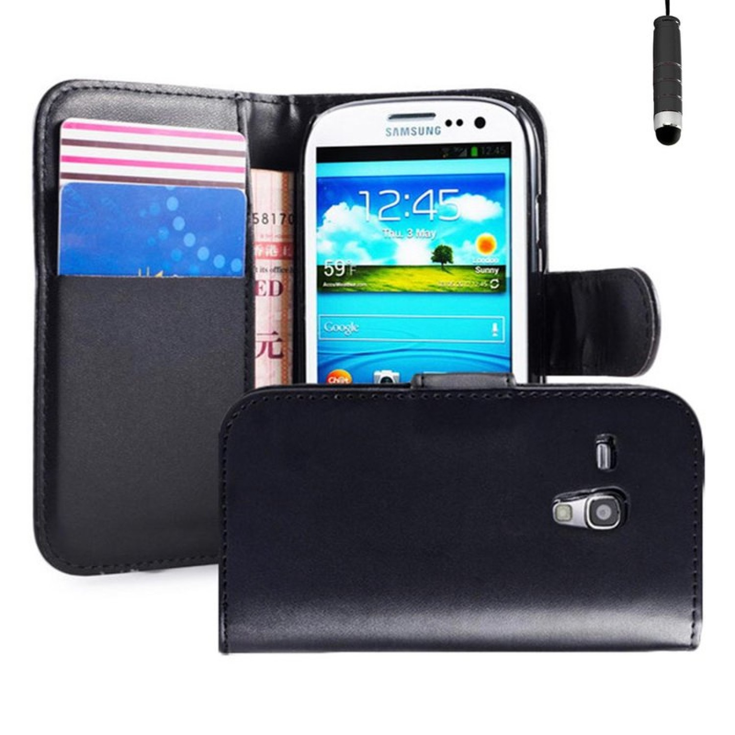 big sale 02a14 e4368 Samsung Galaxy S3 Pu Leather Book Style Wallet Case with free Stylus ...