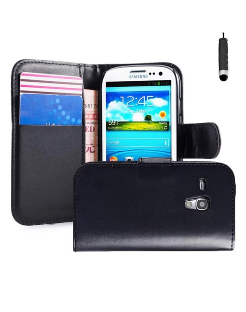 Samsung Galaxy S3 Pu Leather Book Style Wallet Case with free  Stylus-Black