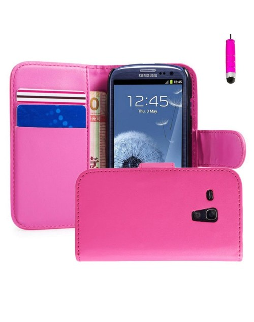 Samsung Galaxy S3 Mini Pu Leather Book Style Wallet Case with free  Stylus-Pink