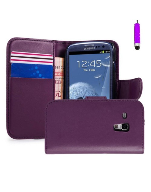 Samsung Galaxy S3 Mini Pu Leather Book Style Wallet Case with free  Stylus-Purple