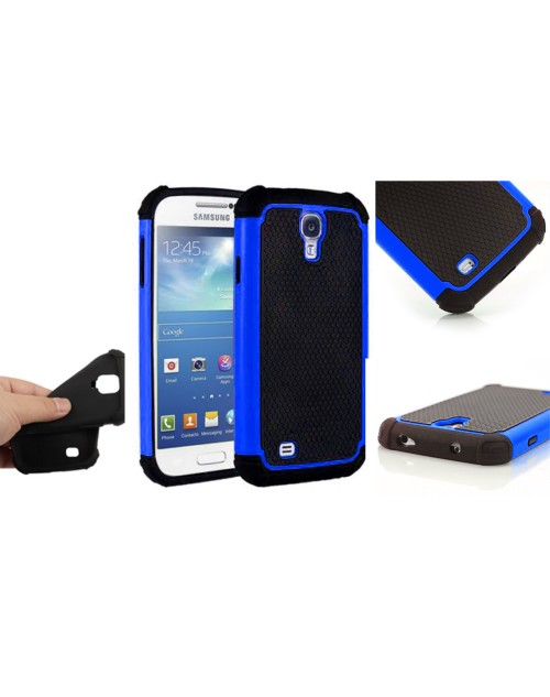 Samsung Galaxy S4 Heavy Duty Military Shockproof hard grip Texture Back Case-Blue