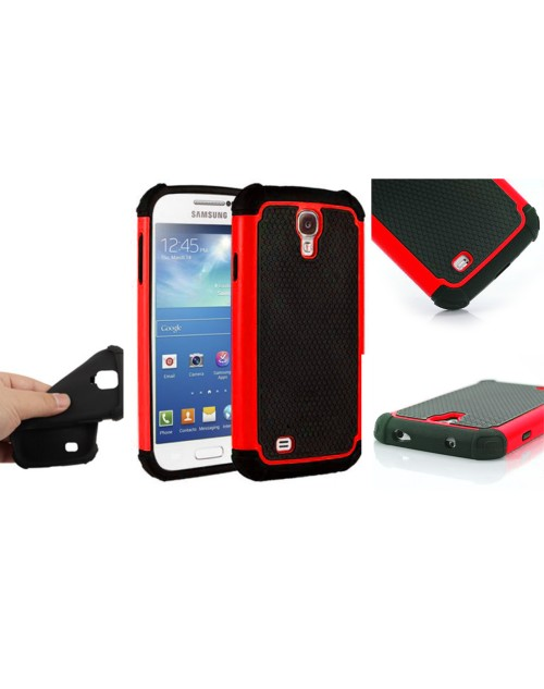 Samsung Galaxy S4 Heavy Duty Military Shockproof hard grip Texture Back Case-Red