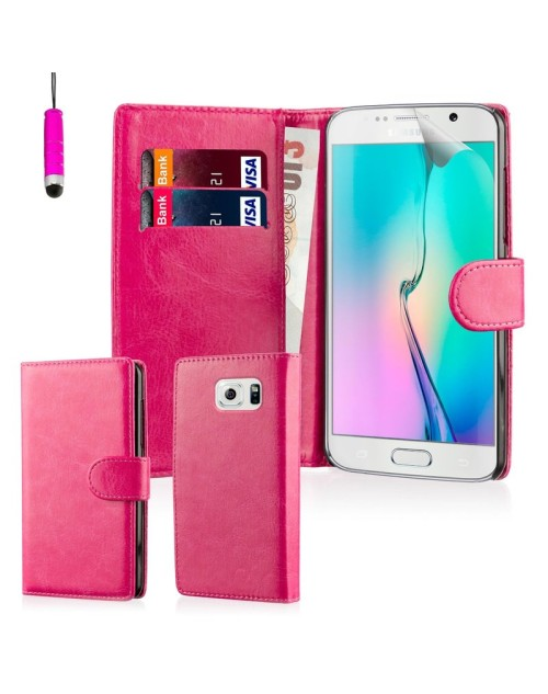 Samsung Galaxy S6 Pu Leather Book Style Wallet Case with free  Stylus-Pink