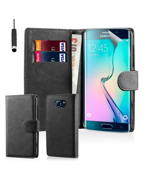 Samsung Galaxy S6 Pu Leather Book Style Wallet Case with free  Stylus-Black