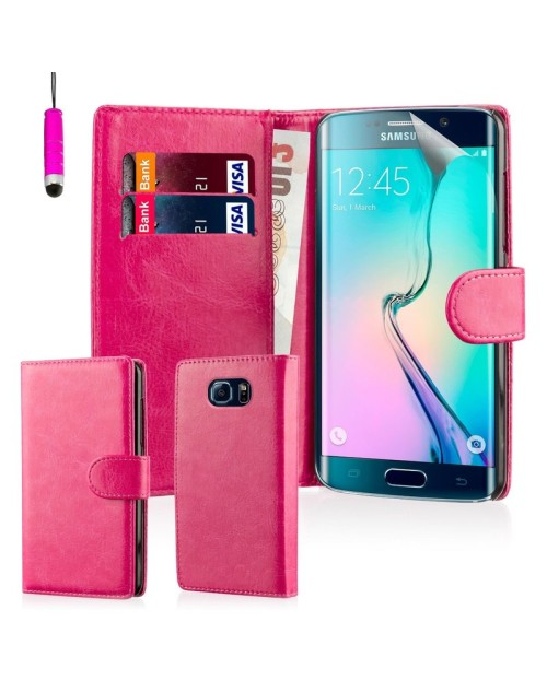 Samsung Galaxy S6 Edge Pu Leather Book Style Wallet Case with free  Stylus-Pink