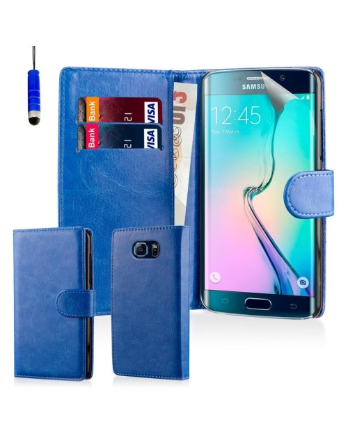 Samsung Galaxy S6 Pu Leather Book Style Wallet Case with free  Stylus-Blue
