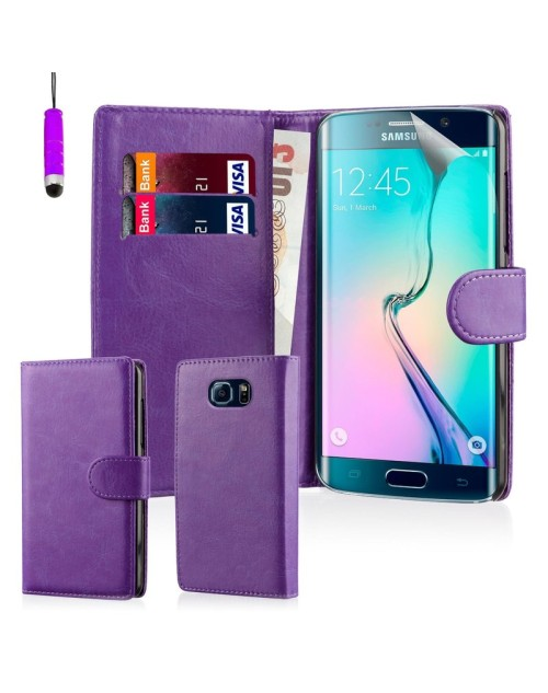 Samsung Galaxy S6 Pu Leather Book Style Wallet Case with free  Stylus-Purple