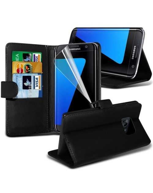 Samsung Galaxy S7 Plus Pu Leather Book Style Wallet Case with free  Stylus-Black