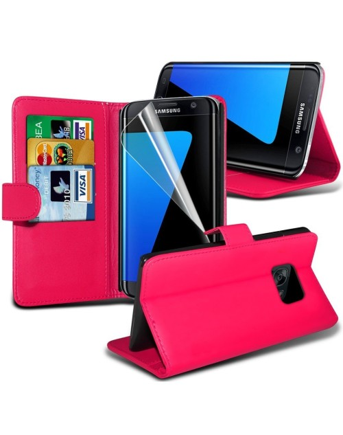Samsung Galaxy S7 Plus Pu Leather Book Style Wallet Case with free  Stylus-Pink